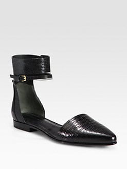 Alexander Wang - Elsa Reptile-Print Leather Ankle Strap Flats