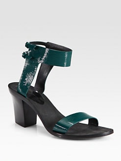Alexander Wang - Ariel Textured Patent Leather Ankle Strap Sandals