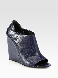 Alexander Wang - Alla Crocodile-Print Leather Wedge Bootie