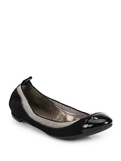 Elie Tahari - Taja Scrunchy Suede & Patent Leather Ballet Flats
