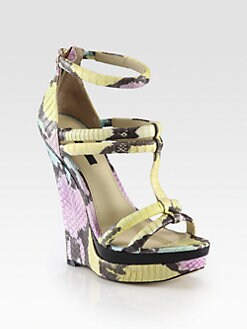 Rachel Zoe - Katia Snakeskin Wedge Sandals