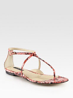 Rachel Zoe - Gwen Snakeskin Ankle Strap Sandals