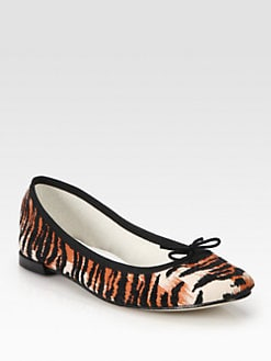 Repetto - BB Tiger-Print Leather & Velvet Ballet Flats