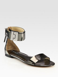 Rachel Zoe - Gladys Metallic Leather Ankle Strap Sandals