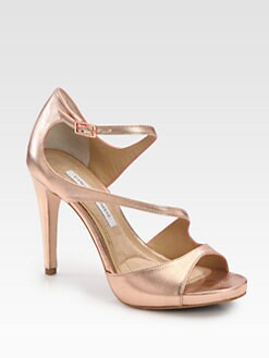 Diane von Furstenberg - Juliette Metallic Leather Platform Sandals