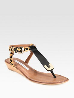 Diane von Furstenberg - Dion Leopard-Print Calf Hair & Leather Wedge Sandals
