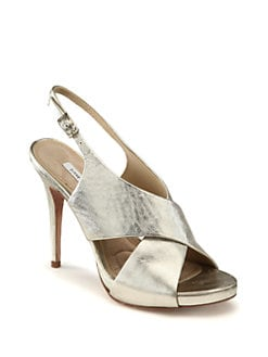 Diane von Furstenberg - Vada Crisscross Metallic Leather Slingback Sandals