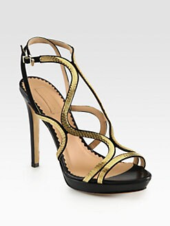 Aquazzura - Martini Goldtone Chain Leather & Suede Sandals