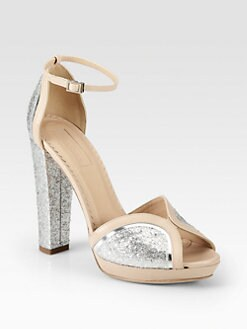 Aquazzura - Cosmopolitan Glitter & Leather Platform Sandals