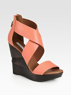Diane von Furstenberg - Opal Leather Wedge Sandals