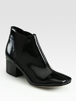 Acne - Elara Square Patent Leather Ankle Boots