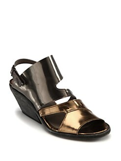 LD Tuttle - Forward Mirror Leather Slingback Wedges