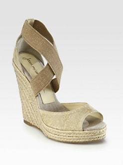 Jean-Michel Cazabat - Formentera Metallic Canvas Espadrille Wedge Sandals