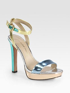 Jean-Michel Cazabat - Holiday Metallic Leather Platform Sandals