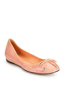 Jean-Michel Cazabat - Rikita Snakeskin & Leather Ballet Flats