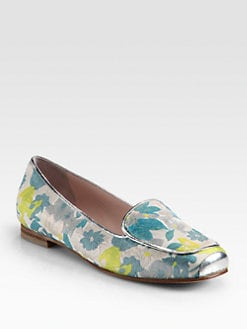 Opening Ceremony - Floral Jacquard & Metallic Leather Smoking Slippers