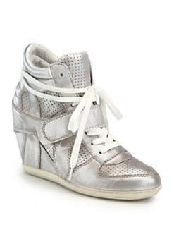 Ash - Bowie Metallic Leather Wedge Sneakers