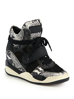 Ash - Funky Leather Wedge Sneakers
