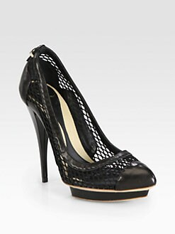 McQ Alexander McQueen - Mesh Leather Platform Pumps