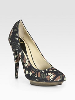 McQ Alexander McQueen - Abstract Floral-Print Canvas Platform Pumps