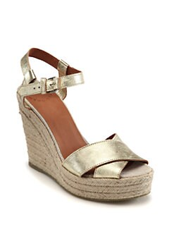 Marc by Marc Jacobs - Metallic Leather Crisscross Espadrille Wedges