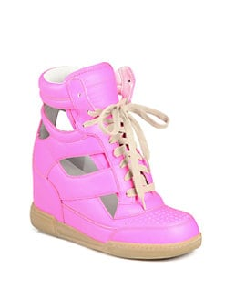 Marc by Marc Jacobs - Cutout Leather Wedge Sneakers