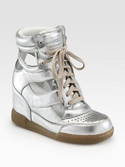 Marc by Marc Jacobs - Cutout Metallic Leather Wedge Sneakers