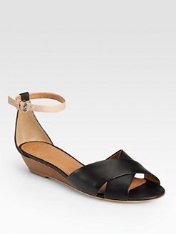 Marc by Marc Jacobs - Two-Tone Leather Wedge Sandals
