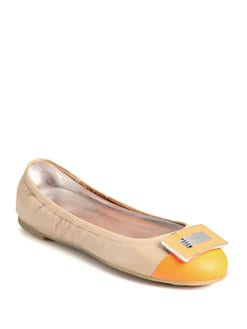 Marc by Marc Jacobs - Neon Leather Logo Ballet Flats