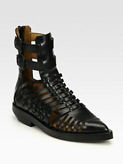 3.1 Phillip Lim - PJ Runway Woven Leather Ankle Boots