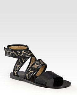 3.1 Phillip Lim - Jenny Leopard-Print Raffia Jacquard & Leather Sandals