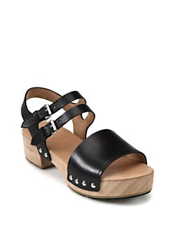 Marc by Marc Jacobs - Leather Wooden Clog Sandals