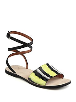 Marc by Marc Jacobs - Caprice Striped Leather Ankle Strap Sandals