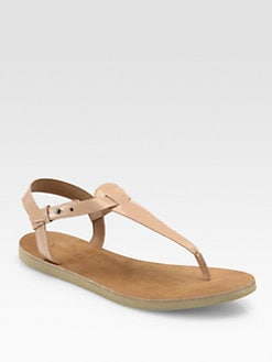 Vince - Maia Patent Leather Thong Sandals/Nude