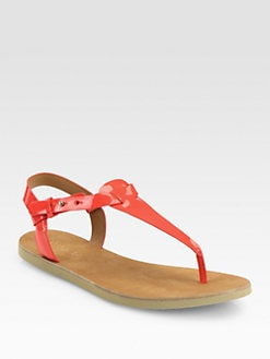 Vince - Maia Patent Leather Thong Sandals/Tomato