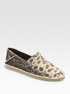 Vince - Kia Snake-Print Leather Slip-On Flats