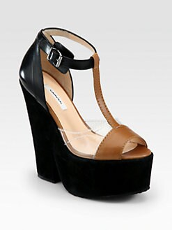 Carven - Mixed Media T-Strap Platform Sandals