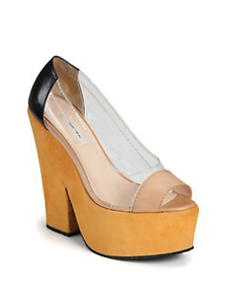 Carven - Leather & Suede Translucent Platform Pumps