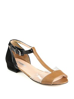 Carven - Leather & Suede Translucent T-Strap Sandals