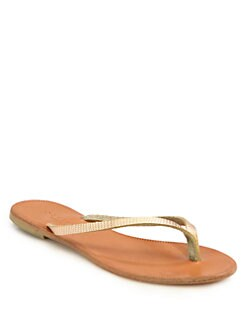 Joie - Antibes Embossed Metallic Leather Thong Sandals