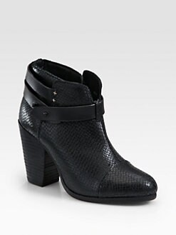 Rag & Bone - Harrow Snake-Print Leather Ankle Boots