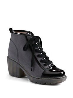 Opening Ceremony - Grunge Canvas & Patent Leather Lace-Up Ankle Boots