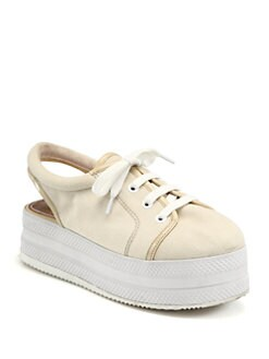 Opening Ceremony - Canvas & Patent Lace-Up Platform Sneakers