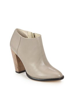 Elizabeth and James - Shane Leather Wooden Heel Ankle Boots