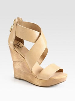 Diane von Furstenberg - Opal Leather Architectural Wedge Sandals