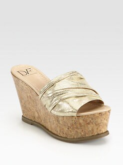 Diane von Furstenberg - Palm Ruched Metallic Suede Wedge Sandals