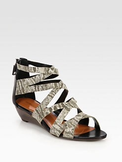 Rebecca Minkoff - Bonnie Lizard-Print Leather Wedge Sandals