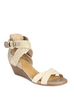 Coclico - Karmina Leather & Braided Raffia Wedge Sandals