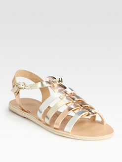 Ancient Greek Sandals - Korinna Metallic Leather Roman Sandals