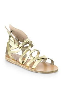 Ancient Greek Sandals - Nephele Angel Metallic Leather Wing Gladiator Sandals